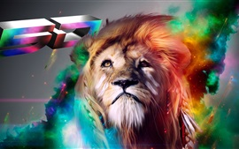 Preview wallpaper Colorful drawing lion