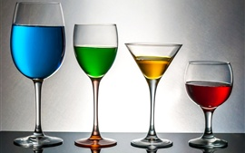 Colorful drinks, blue, green, yellow, red