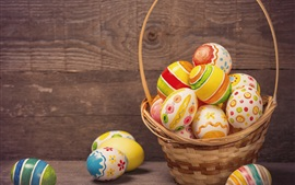 Colorful eggs, basket, Happy Easter