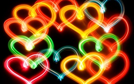 Preview wallpaper Colorful neon love hearts