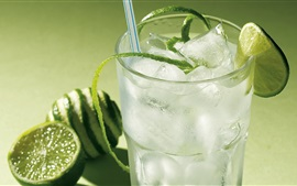 Preview wallpaper Cool drinks, ice, green lemon slice, glass cup