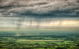 Countryside, towns, trees, fields, clouds, sunlight, top view