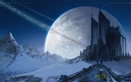 Preview wallpaper Creative picture, stars, mountains, castle, planet