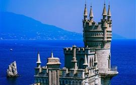 Crimeia, fortaleza, mar, azul