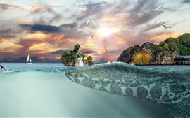 Preview wallpaper Crocodile, island, horizon, fantasy art picture