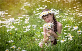 Preview wallpaper Cute child girl, chamomile, summer