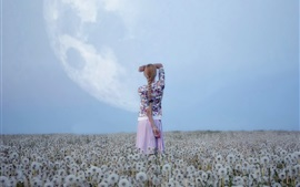 Preview wallpaper Dandelions field, girl back view
