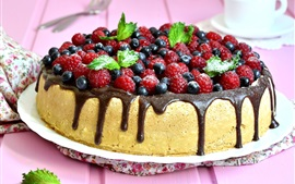 Preview wallpaper Delicious cake, blueberries, raspberries, mint