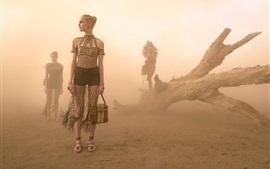 Vorschau des Hintergrundbilder Wüste, Modekleid Mädchen, Staub
