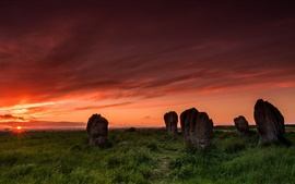 Preview wallpaper Duddo stone circle, sunset, grass