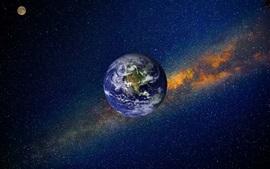 Terra, espaço, nebulosa, universo, estrelado