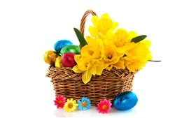 Preview wallpaper Easter, colorful eggs, basket, flowers, white background