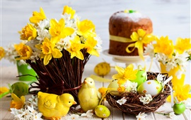 Preview wallpaper Easter, daffodils, eggs, figurine, spring