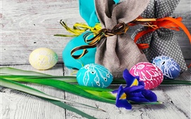 Preview wallpaper Easter, iris flower, colorful eggs