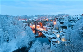 England, North Yorkshire, Knaresborough, city, lights, river, white snow, winter