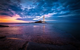 England, St. Mary's Lighthouse, coast, sea