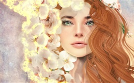 Preview wallpaper Fantasy girl, curly hair, green eyes, flowers