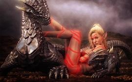 Fantasía chica, elfo, tatuaje, dragón