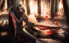 Aperçu fond d'écran Fantasy girl, sirène, méduse, queue, épée