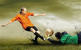 Preview wallpaper Football match, attack and defense