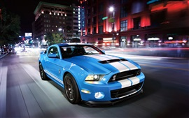 Ford Mustang Shelby GT500 blue supercar speed