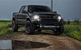 Preview wallpaper Ford Raptor black pickup front view