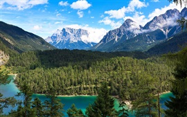 Preview wallpaper Forest, mountains, lake, clouds, Canada