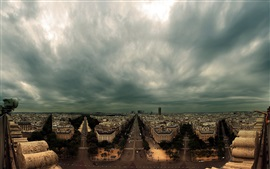 France, Paris, city, houses, roads, dark clouds