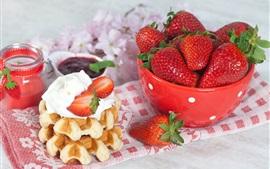 Свежие фрукты, клубника, миска, десерт