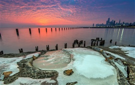 Fullerton, Michigan, Chicago, sea, dusk, sunset, red sky