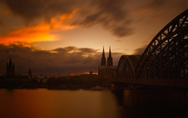 Germany, Cologne, cathedral, evening, river, bridge