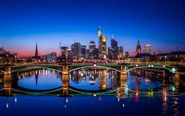 Preview wallpaper Germany, Frankfurt, city night, bridge, river, water reflection