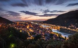Alemanha, Heidelberg, noite, cidade, casas, luzes, rio, ponte