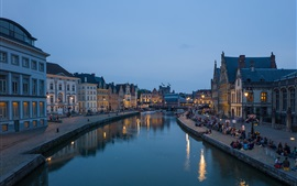 Ghent, Belgium, Flanders, river, city, houses, people