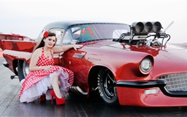 Preview wallpaper Girl and red sports car, retro style
