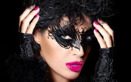Aperçu fond d'écran Fille face, masque, style noir