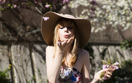 Preview wallpaper Girl, hat, flowers, blowing