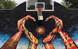 Graffiti, manos, red de baloncesto, creativo