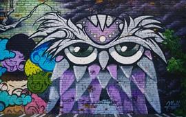 Preview wallpaper Graffiti wall, owl, art drawing
