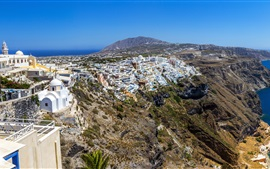 Preview wallpaper Greece, Santorini, city, houses, coast, sea, sky, rocks