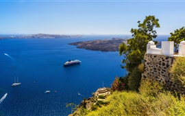 Preview wallpaper Greece, Santorini, coast, yachts, blue sea