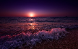 Preview wallpaper Greece, sea, beach, waves, sunset, purple style