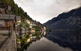 Hallstatt, lake, water reflection, mountains, houses, Austria