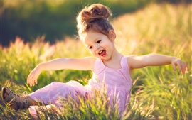Preview wallpaper Happy child girl, grass, summer