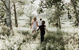 Happy children, run, grass, nature