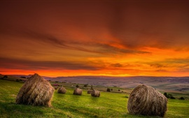 Preview wallpaper Hay, field, sunset, red sky