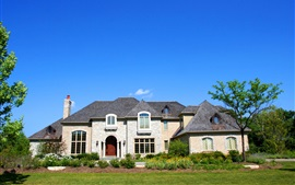 家、邸宅、茂み、青空