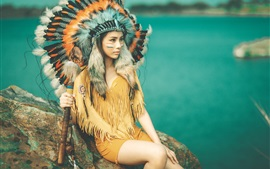 Preview wallpaper Indian girl, face, feathers, headdress