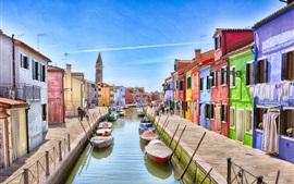 Италия, Венеция, остров Бурано, река, лодки, дома