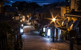 Japan, Kyoto, street, night, lights, old town